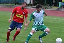 Krajský přebor – 1. kolo: FK Slavoj Český Krumlov (zelenobílé dresy) – SK Siko Čimelice 3:1 (3:1).