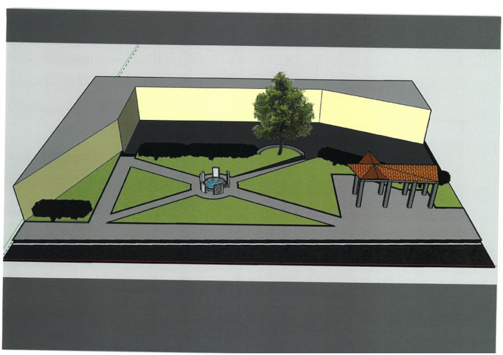 Kruhové pomníkové centrum s fontánou by mělo upoutat i pozornost mladší generace.  Návrh č. 4.