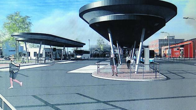 Studie nového autobusového nádraží ve Velešíně.