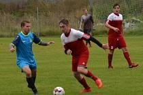 OP mužů – 5. kolo (4. hrané): Sokol Křemže (červené dresy) – Sokol Kájov 1:2 (0:1).
