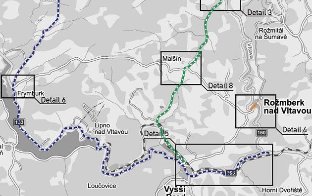 Hlavní objízdná trasa vede přes Frymburk, Lipno nad Vltavou a Vyšší Brod, osobní auta mohou jet přes Větrnou a Přízeř.