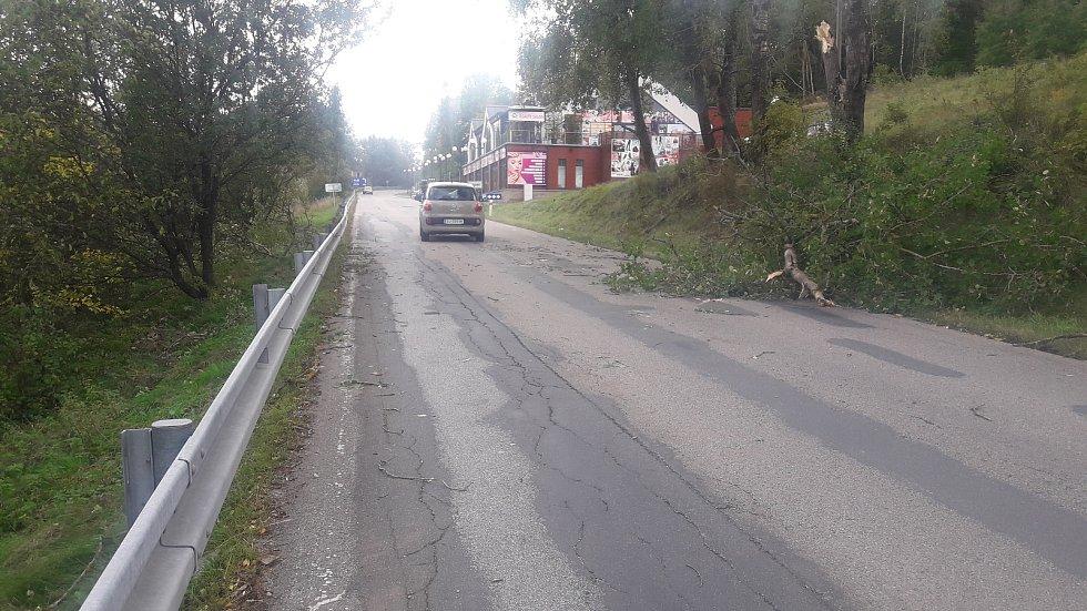 Větev přistála na okně a střeše auta u Studánek a vylekala rodinu uvnitř.
