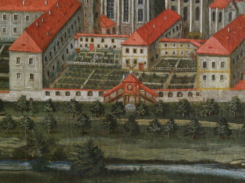 Detail odpadního kanálu na historickém zobrazení kláštera Zlatá Koruna.
