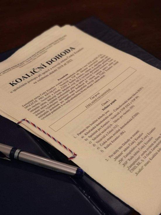 Koaliční dohoda v Krumlově pro období 2018-2022 je podepsaná.