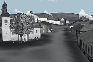 Vizualizace, jak vypadalo náměstí v Dolní Vltavici.
