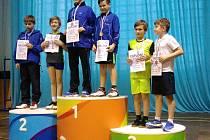 Ve čtyřhře chlapců zvítězili Jiří Šmikmátor s Denisem Pražákem z SKB Český Krumlov, třetí místo obsadil křemežský pár Marek Pavliš a Jan Sixl (vpravo).