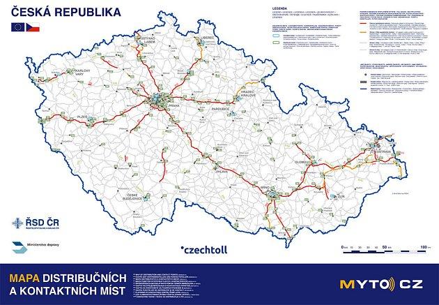 Mapa distribučních a kontaktních míst.