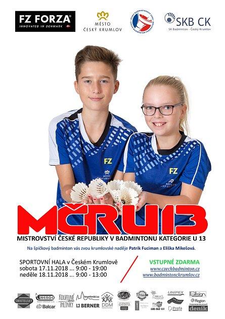 Pořádající SKB Český Krumlov bude mít na šampionátu dvě želízka – Patrika Fucimana a Elišku Mikešovou (na oficiálním plakátu turnaje).