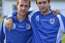 Loučovický FC Vltava vybojoval titul podzimního mistra okresního přeboru i díky velmi produktivní útočné dvojici (zleva) Michal Toman (11 gólů) a Jan Kališ (8 gólů).