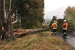 Dobrovolní hasiči z Benešova nad Černou v neděli zasahovali na všech směrech od Benešova. Stromy odstraňovali  v Klení, Ličově, Skalinách či ve Věrtelích.