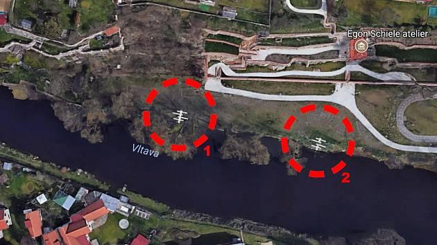 Vizualizace záměru vybudovat vstupy do Vltavy v centru města.