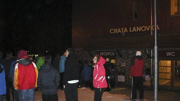 Evakuace chaty Lanovka.