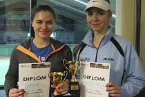 Ve dvouhře dorostenek dominovala velešínská Renata Švecová (vpravo), která pak společně s finálovou soupeřkou Ivou Dvořákovou z pořádajícího LTC Český Krumlov ovládla i společně hranou čtyřhru.