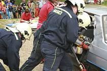 Vyšebrodští dobrovolní hasiči v akci.