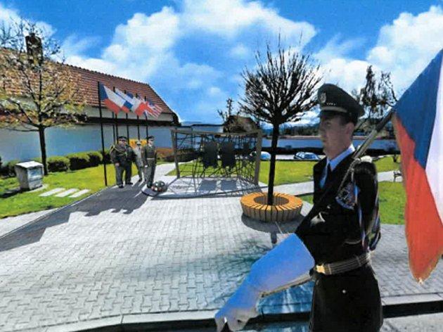 Současná podoba pomníku válečným obětem ve Velešíně a jeden z návrhů jeho nového umístění.