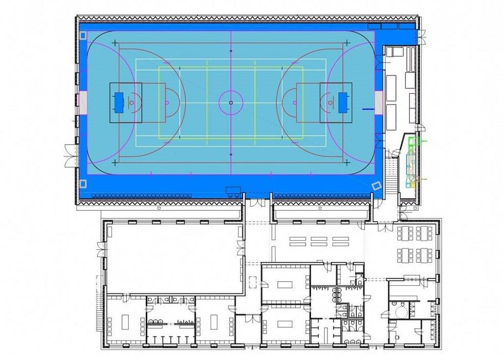Podoba nové sportovní haly u kaplického učiliště. Nákres města Kaplice