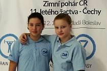 Žákyně Českokrumlovského plaveckého klubu Anna Pilsová a Tereza Kozáková na Zimním poháru v Mladé Boleslavi.