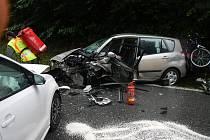 Dopravní nehoda dvou osobních aut u Jenína nedaleko Dvořiště. Foto: HZS Český Krumlov