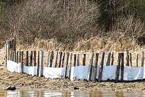 Takto vypadají pokusy odborníků na Lipně, jak zamezit erozi a splavování jemných částic.