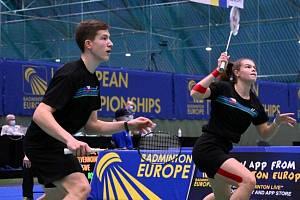 Krumlovský badmintonista Tomáš Švejda na ME vytvořil v mixech pár s Lucii Krpatovou z Pardubic.