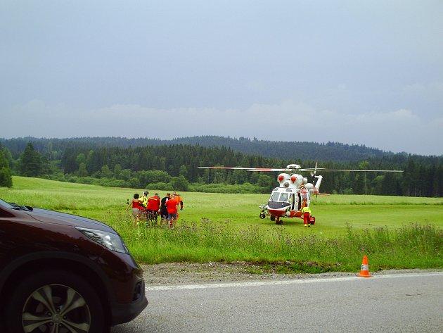 Havárie motocyklisty na Frymbursku.