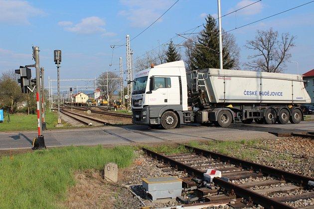 Železniční přejezd v Kaplici Nádraží.