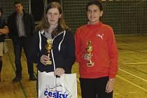 Křemežské badmintonistky Martina Weberová a Zuzana Matoušková (na snímku zleva) nenašly na vodňanském klání přemožitelky, druhá jmenovaná nejmladší účastnice se navíc stala i nejúspěšnější  hráčkou turnaje.