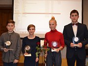 Nejúspěšnější sportovci Českokrumlovska za rok 2018 - talenti (zleva): Patrik Fuciman, Karolína Martínková, Kristina Novosadová a Martin Paráček.