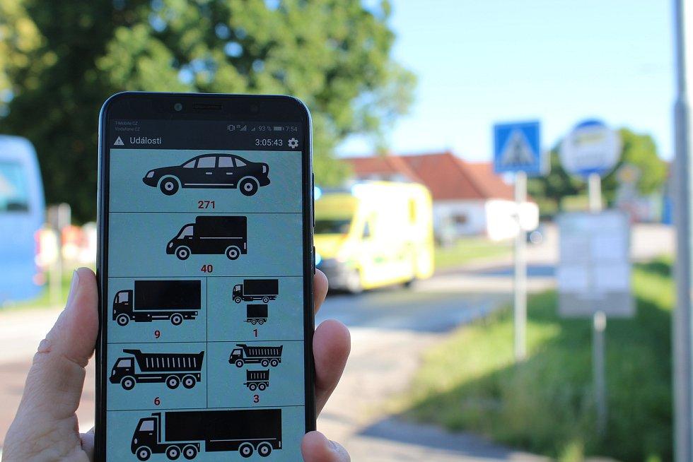 Celostátní sčítání dopravy 2020 v Přísečné u Českého Krumlova. Počet vozidel ve směru na České Budějovice po necelé hodině sčítání.
