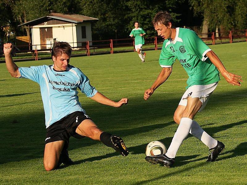 Fotbalové utkání krajského přeboru mužů / FK Spartak Kaplice - TJ Dražice 4:1 (2:1).