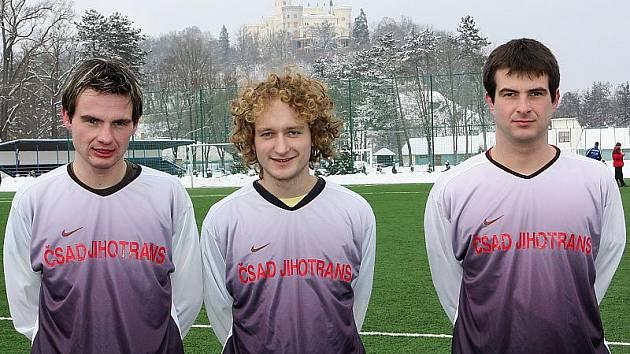 Kaplické zimní posily Zdeněk Šafránek, Miroslav Mrázik a Jiří Šafránek (zleva).