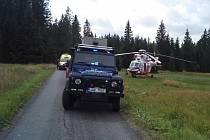 Horská služba při zásahu na Šumavě.