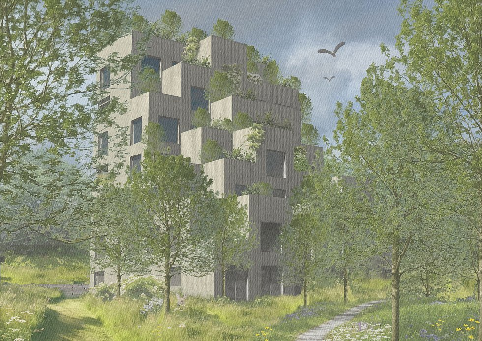 Vertikální zahrady, soutěžící Adéla Koubová; Vítěz odborné poroty v kategorii Dřevěné budovy – návrhy.