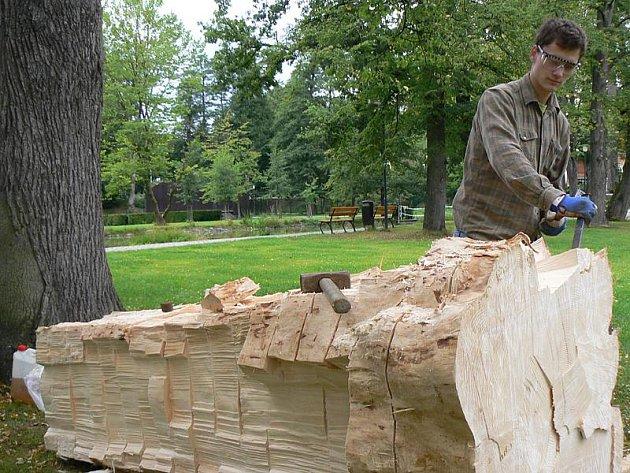 Jedním z party nadšených umělců, kteří v těchto dnech pracují v kaplickém městském parku, je i místní Michal Bernhard (na snímku). Ten proměňuje kmen stromu v loď s podstavcem. Ta má sloužit i jako lavička.
