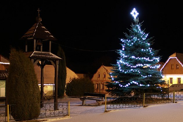 1. Vánoční strom na návsi Netřebic.