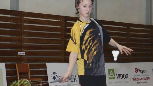 Velká naděje křemežského badmintonu - Petr Beran, jenž si z letošního mistrovství České republiky kategorie mladších žáků U13 přivezl do Podkletí tři cenné kovy.