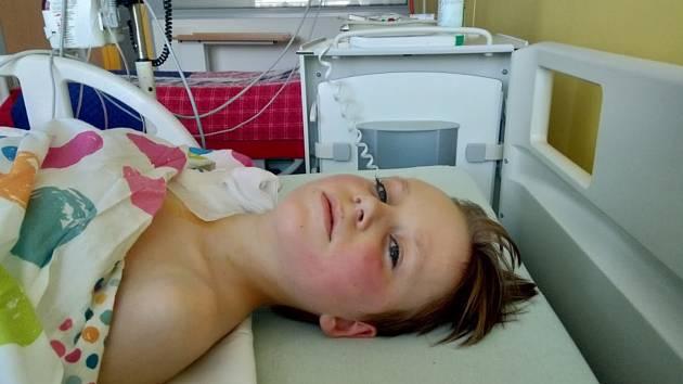 Desetiletý Matěj Mazal onemocněl leukémií, léčí se v budějovické nemocnici.
