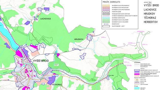 Mapa k zakreslování návrhů k novému územnímu plánu.