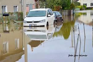 Velká voda v Brodku u Přerova 15. října 2020.