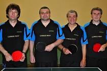 TJ Sokol Tovačov A (zleva Jaroslav Pazdera st., Milan Horák, Vlastimil Otáhal, Zdeněk Palčík)