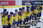 Hokejisté Přerova (ve žlutém) proti Benátkám nad Jizerou (1:0)
