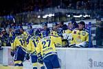 Hokejisté Přerova (ve žlutém) proti Pirátům Chomutov.