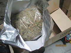 Celníci zkontrolovali nákladový prostor vozidla, našli igelitovou tašku a kartonovou krabici, které obsahovaly sušené rostliny připomínající marihuanu.