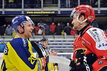 Zubři vs. Jestřábi. Tomáš Sýkora (vlevo) a Jiří Cetkovský