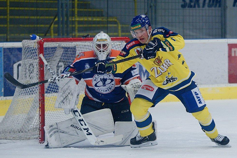 Hokejisté Přerova (ve žlutém) proti Litoměřicím