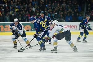 Třetí utkání čtvrtfinále play-off hokejové Chance ligy mezi Přerovem a Kladnem.