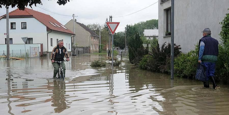 Zaplavené Troubky den poté, středa 19. května 2010 odpoledne