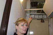 Prodavačka zverimexu v Jiráskově ulici v Přerově ukazuje okénko, kterým se dostal dovnitř zloděj.