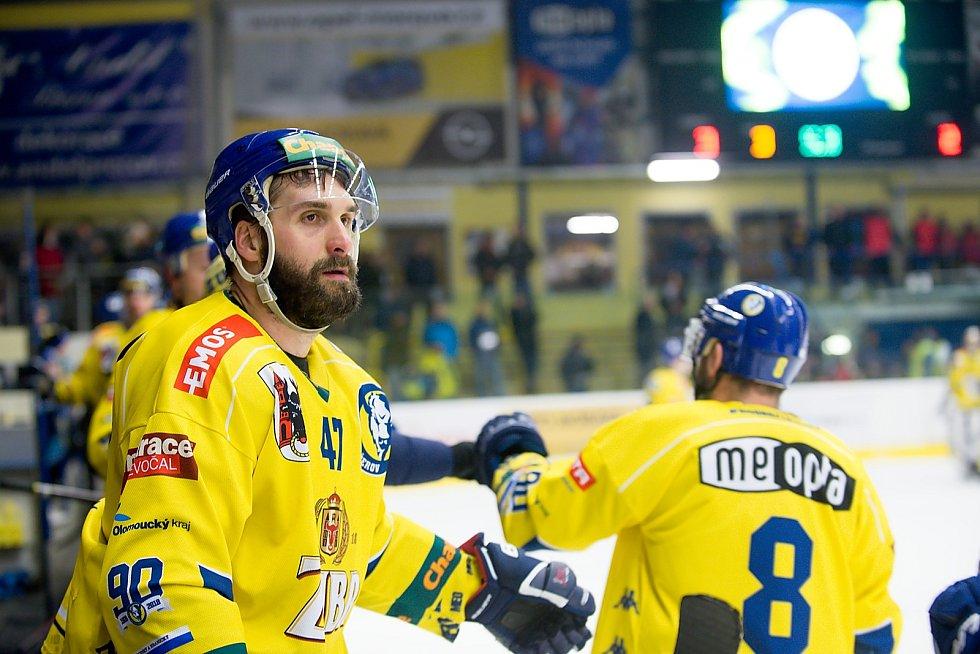 Hokejisté Přerova (ve žlutém) porazili Havířov 4:2. Jiří Goiš