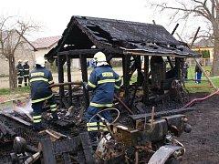 Požár zahradního domku ve Staměřicích